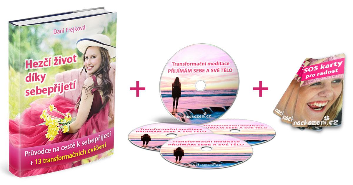 Transformační balíček pro sebepřijetí (ebook Hezčí život díky sebepřijetí, transformační meditace Přijímám sebe a své tělo, SOS karty pro radost)