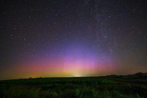 Hvězdy na růžovém nebi nad zelenou krajinou - fotografie k originální bajce o Stromvěkovi